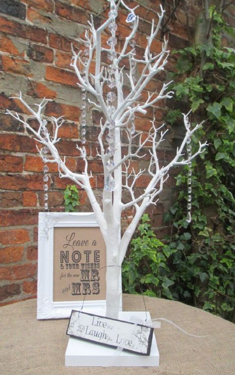 Wish Tree Bundle Manzanita Wishing Tree, Framed Sign, Live Laugh Love Sign & Acrylic Crystal Droplets